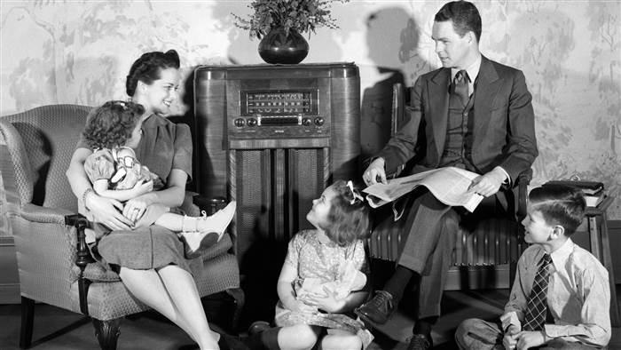Classic Family Listening to radio